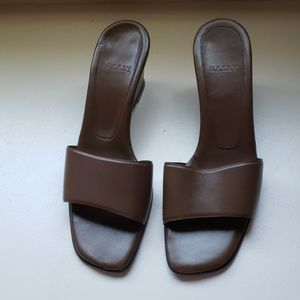 Bally brown leather slide